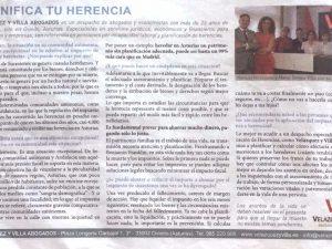 Entrevista en el diario ABC sobre la herencia y su tributación